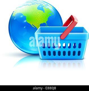 Vektor-Illustration von global-shopping-Konzept mit Supermarkt Korb und kühl glänzende Kugel - Stockfoto