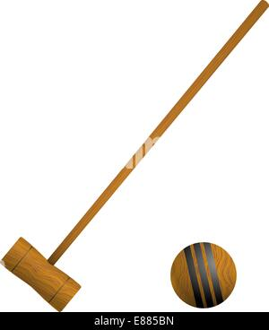 Schläger und Ball Krocket - Stockfoto