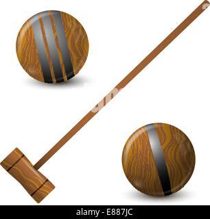 Hammer und Krocket Holzkugeln - Stockfoto