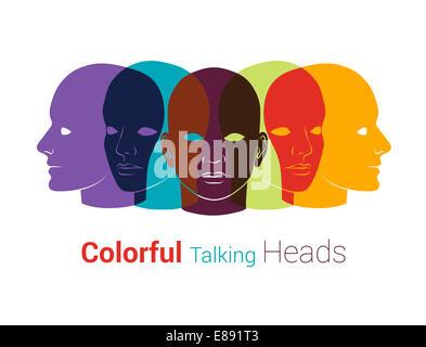 Menschenköpfen Silhouetten. Gruppe von Menschen reden, zusammen arbeiten. Konzept-Abbildung - Stockfoto