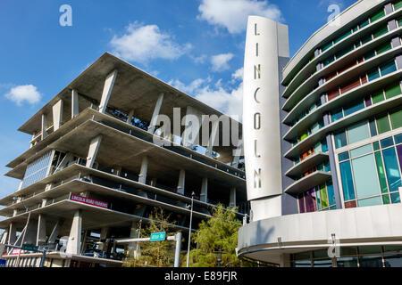 Miami Beach, Florida Lincoln Road Movie Theater Theater Regal Cinemas Parkhaus mehrstöckige Gebäude außerhalb äußeres - Stockfoto