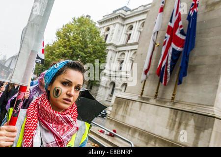 London, UK. 4. Oktober 2014. Die Bombardierung des Irak - Don't Angriff Syrien Demonstration und März von Tempel - Stockfoto