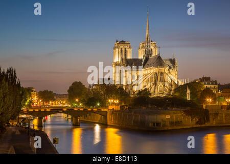 Kathedrale Notre-Dame an den Ufern des Flusses Seine, Paris, Frankreich - Stockfoto