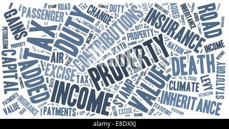 Sammlung von Wörtern, die Steuern in Großbritannien auf. - Stockfoto
