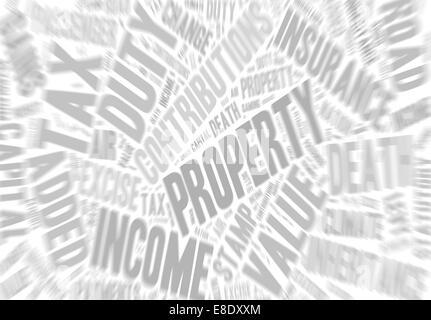 Sammlung von Wörtern, die Steuern in Großbritannien auf. Zoom-Effekt hinzugefügt. - Stockfoto