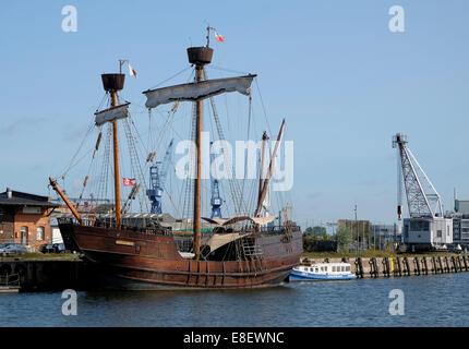 Historisches Schiff Replik, Lisa von Lübeck, Hafen, Lübeck, Schleswig-Holstein, Deutschland - Stockfoto
