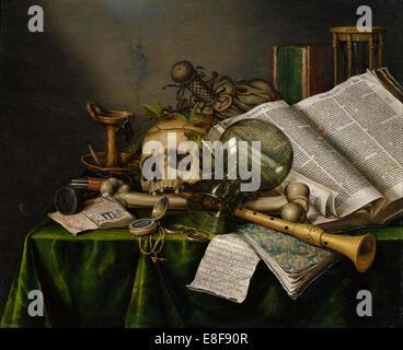 Vanitas. Stillleben mit Büchern, Manuskripten und einen Schädel. Künstler: Collier, Edward (aktive 1662-1708) - Stockfoto