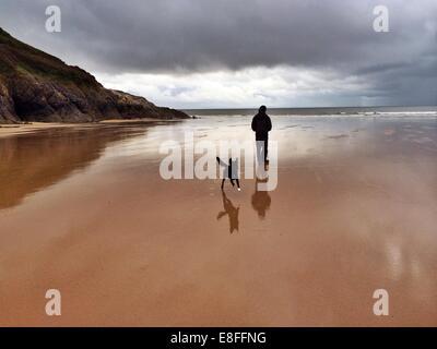 Mann und sein Hund am Strand, Wales, UK - Stockfoto