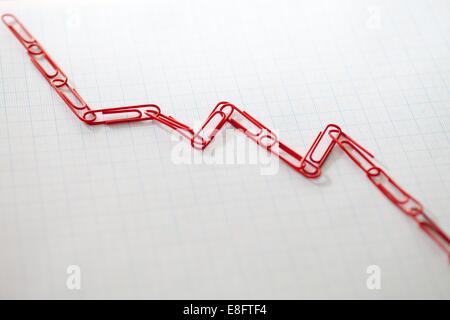 Verknüpfte Büroklammern auf Zeichenpapier mit Maßeinteilung - Stockfoto