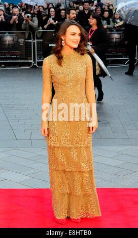 London, UK. 8. Oktober 2014. Keira Knightley besuchen die Premiere von The Imitation Game bei Eröffnungsgala des - Stockfoto