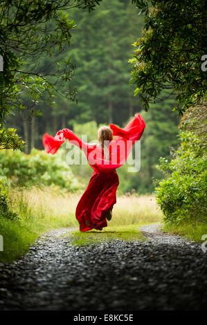Scharlachrote Frau: Rückansicht eines Mädchens in einem blutroten Kleid Kleid im Wald Landschaft weglaufen - Stockfoto