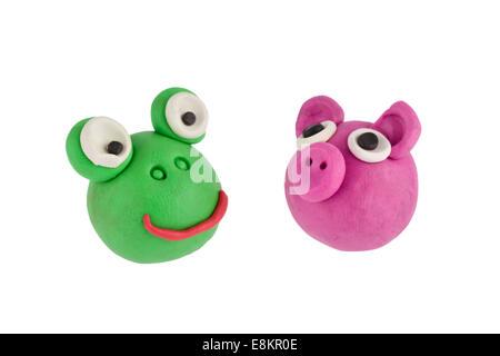 Frosch und Schwein gemacht Knetmasse - Stockfoto