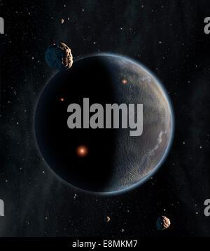 Künstlers Konzept eines erdähnlichen Planeten reich an Kohlenstoff und trocken. Chancen sind gering, dass das Leben, - Stockfoto