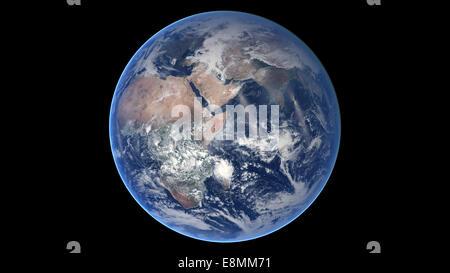 30. März 2014 - zusammengesetztes Bild der östlichen Hemisphäre auf dem Planeten Erde. - Stockfoto