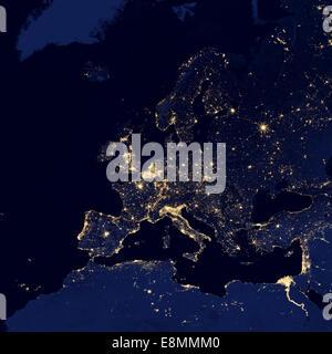 Satelliten-Ansicht auf die Lichter der Stadt in mehreren europäischen und Nordic Großstädten wie Stockholm-Schweden; - Stockfoto