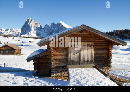 Hütten auf Seisser Alm, Italien, Sasslong Berg im Hintergrund - Stockfoto