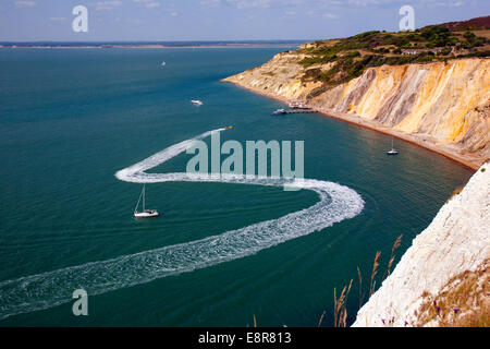Sessellift, Strand, Pier, farbigen Sand, Alum Bay, Nadeln, Isle Of Wight, UK, - Stockfoto