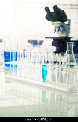 Rack-Reagenzgläser mit Lösung im Labor - Stockfoto