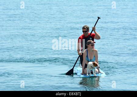 GOLDKÜSTE - SEP 27 2014:Couple auf Stand up Paddeln in Surfers Paradise.It ist eine beliebte Wasseraktivität, die - Stockfoto