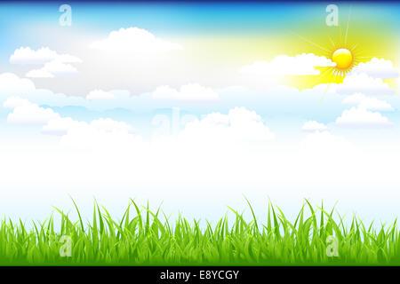 Schöne grüne Landschaft mit Wolken
