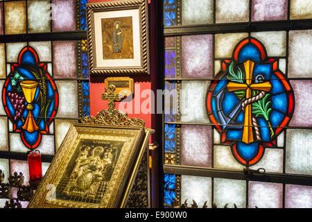 St. Louis Missouri St. West End St Nicholas griechisch-orthodoxe Kirche Religion Christentum innen Sakralkunst Glasmalerei - Stockfoto