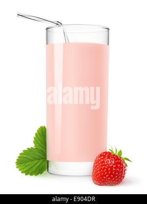 erdbeer milchshake isoliert auf weiss stockfoto bild 60008865 alamy. Black Bedroom Furniture Sets. Home Design Ideas