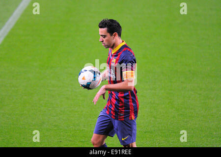 BARCELONA - 21 APR: Xavi Hernandez, F.C Barcelona-Spieler in Aktion gegen Athletic Bilbao im Camp Nou Stadion. - Stockfoto