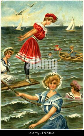 Frau in rot schwimmen Kleid in Tauchen Position auf Sprungbrett am Meer, umgeben von anderen Frauen, Illustration, - Stockfoto