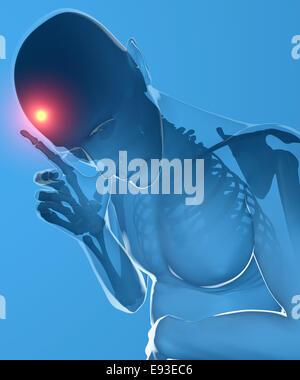 Ein Mann mit Kopfschmerzen unter Röntgenkontrolle. - Stockfoto