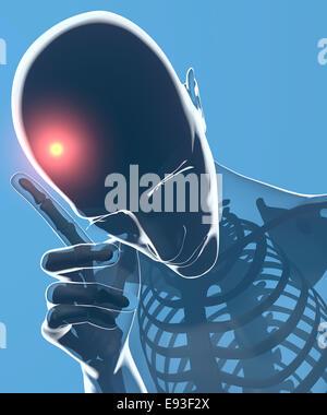 Ein Mann mit Kopfschmerzen unter Röntgenkontrolle - Stockfoto