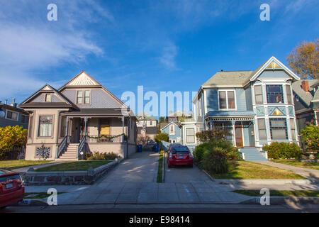 Viktorianische Häuser in Angelino Heights. Los Angeles, Kalifornien, USA - Stockfoto