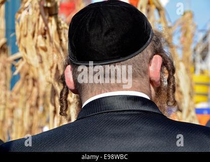 Nahaufnahme von einem extrem religiösen jüdischen Mann Peyot im Freien in Coney Island während der Sukkot-Feiertage. - Stockfoto