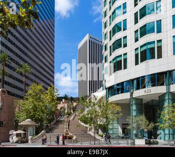 Bunker Hill Schritte, Bank of America und uns Bank Tower Eingang in der Innenstadt von Los Angeles, Kalifornien, - Stockfoto