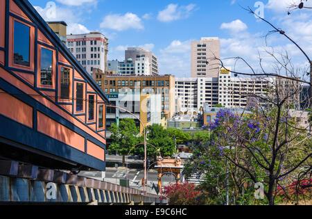 Engel, Los Angeles. Blick über Hill Street von Angel's Flight Standseilbahn, Bunker Hill District, Los Angeles, - Stockfoto
