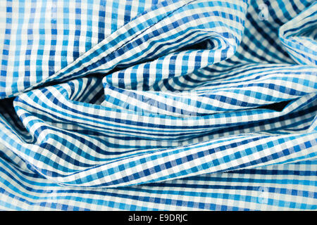 Überprüft Bluie und weißen Baumwollstoff - Stockfoto
