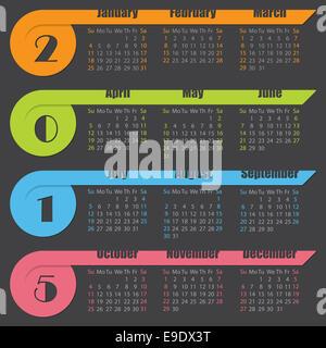 2015 Kalenderdesign mit bunten Bändern auf dunklem Hintergrund - Stockfoto