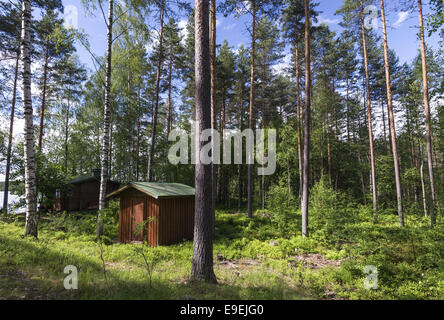 Holzhütten in einem finnischen Kiefernwald in der Nähe von Lemi, Finnland - Stockfoto