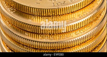 Sammlung von 1 Unze gold Münzen - Stockfoto