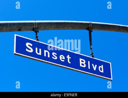 Sunset Boulevard-Straßenschild, West Hollywood, Los Angeles, Kalifornien, USA - Stockfoto