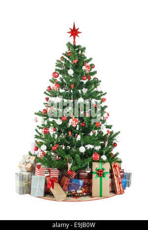 Schönen Weihnachtsbaum isoliert auf weißem Hintergrund - Studio gedreht - Stockfoto