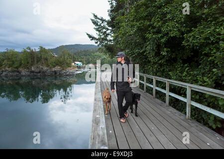 Besucher geht mit seinen Hunden entlang der Promenade, Halibut Cove, Kachemak Bay, Yunan Alaska. - Stockfoto