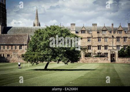 Gardner Mähen Gelände des Christ Church College in Oxford, UK. - Stockfoto
