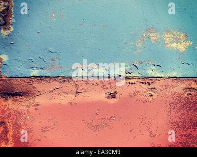 Verrostete gemalten Metallwand, close-up-Hintergrund. - Stockfoto