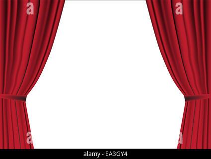 Roter Vorhang geöffnet auf weiß - Stockfoto