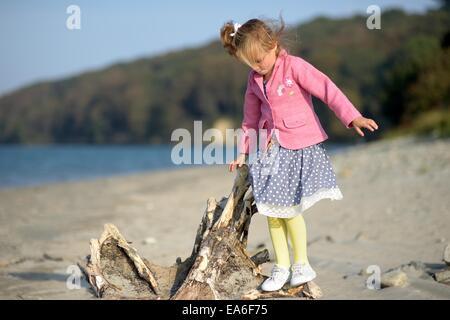 Mädchen (2-3) steht im log - Stockfoto