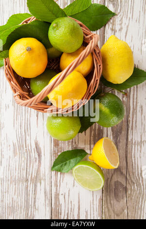 Frisch geerntete Zitronen in Korb - Stockfoto