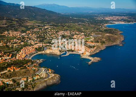 Luftbild, königliche Festung Château Royal de Collioure, Port von Collioure, Languedoc-Roussillon, Frankreich - Stockfoto