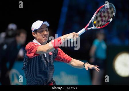 O2 Arena, London, UK. 13. November 2014. Barclays ATP round Robin-Match Singles Spieler Kei NISHIKORI (JPN) gegen - Stockfoto