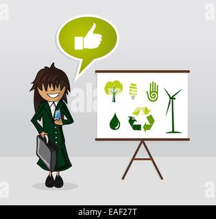 Ökologie-Geschäftsfrau mit Whiteboard-Präsentation und Umwelt-Ikonen. EPS10 Vektor-Datei organisiert in Schichten - Stockfoto