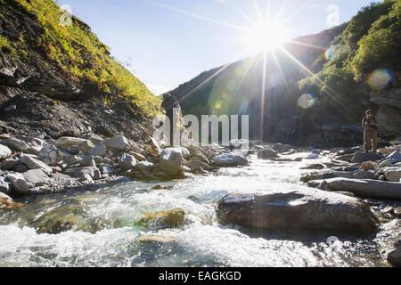 Erkunden, felsig, Wanderer, Landschaft, Fluss - Stockfoto